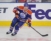 Andrew Ference of the Edmonton Oilers in action against the Montreal Canadiens during an NHL game at Rexall Place on October 27 2014 in Edmonton...