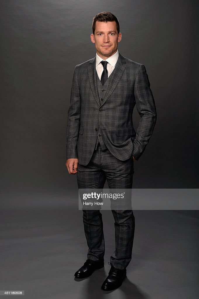 Andrew Ference of the Edmonton Oilers poses for a portrait during the 2014 NHL Awards at Encore Las Vegas on June 24 2014 in Las Vegas Nevada