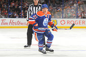 Andrew Ference of the Edmonton Oilers skates during a preseason game against the Calgary Flames on September 21 2015 at Rexall Place in Edmonton...