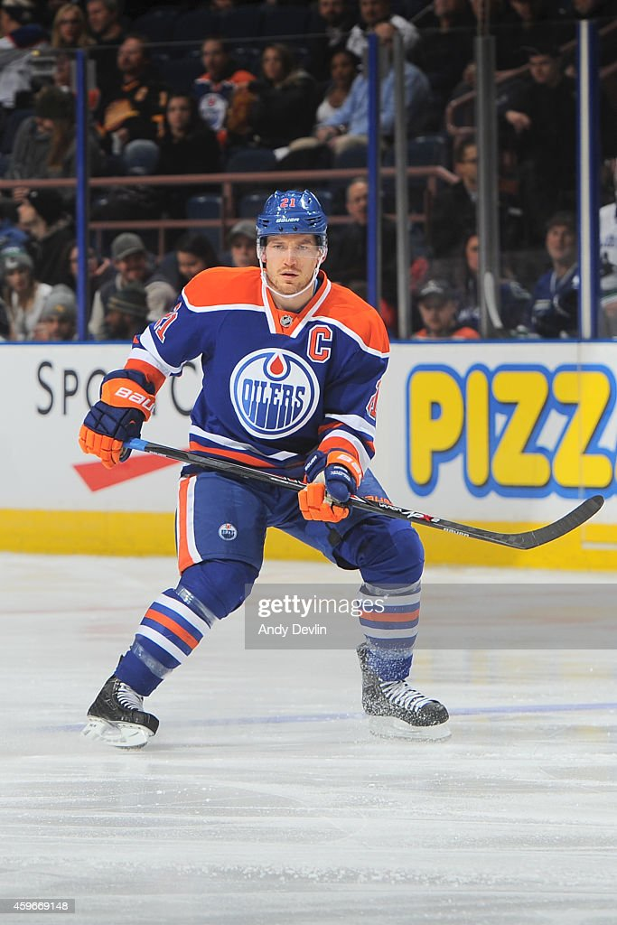 Andrew Ference of the Edmonton Oilers skates on the ice during the game against the Vancouver Canucks on November 19 2014 at Rexall Place in Edmonton...