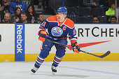 Andrew Ference of the Edmonton Oilers skates on the ice during the game against the Arizona Coyotes on December 1 2014 at Rexall Place in Edmonton...