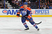 Andrew Ference of the Edmonton Oilers skates on the ice during the game against the St Louis Blues on February 28 2015 at Rexall Place in Edmonton...
