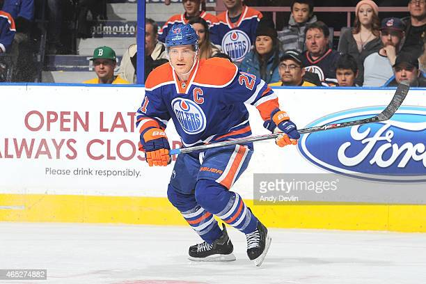 Andrew Ference of the Edmonton Oilers skates on the ice during the game against the Boston Bruins on February 18 2015 at Rexall Place in Edmonton...