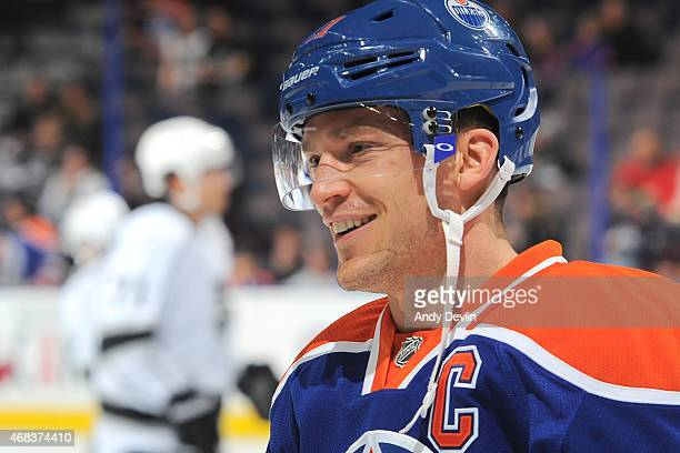 Andrew Ference of the Edmonton Oilers warms up prior to the game against the Los Angeles Kings on March 3 2015 at Rexall Place in Edmonton Alberta...