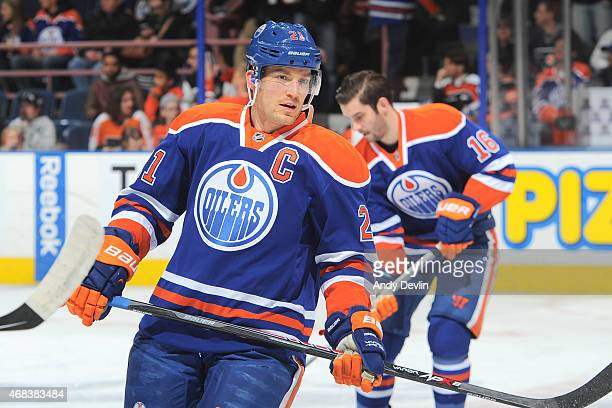 Andrew Ference of the Edmonton Oilers warms up prior to the game against the Philadelphia Flyers on March 21 2015 at Rexall Place in Edmonton Alberta...