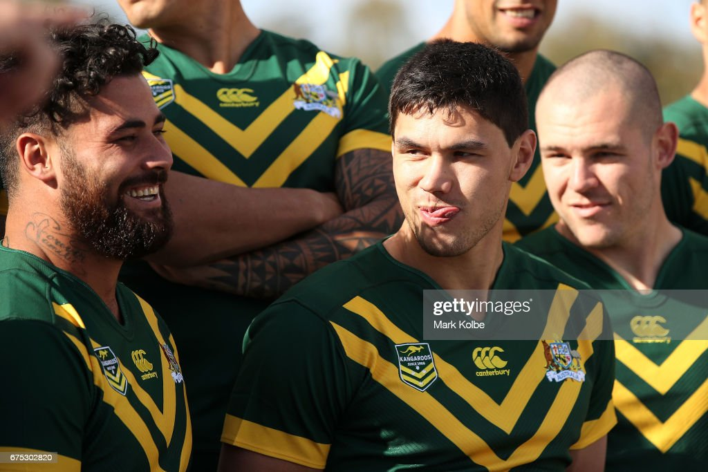 Andrew Fifita and Jordan McLean share a joke as they pose for a team photo during an Australian Kangaroos media opportunity at the Australian War Memorial on May 1, 2017 in Canberra, Australia.