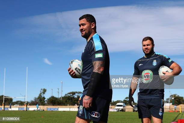 Andrew Fifita and Wade Graham during a New South Wales Blues State of Origin Training Session on July 8 2017 in Kingscliff Australia
