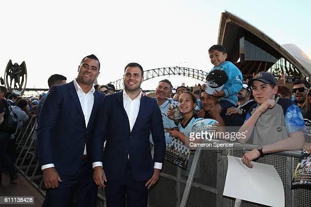 Andrew Fifita and Wade Graham of the CronullaSutherland Sharks pose with fans during the NRL Grand Final Fan Day at Sydney Opera House on September...