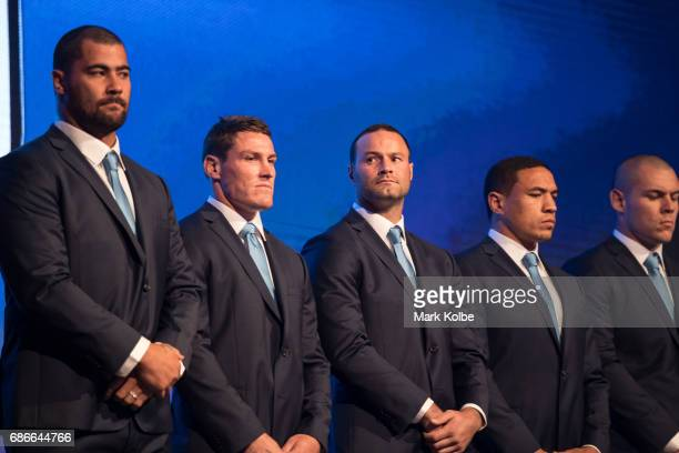Andrew Fifita Josh Jackson Boyd Cordner Tyson Frizell and David Klemmer stand on stage during the New South Wales State of Origin team announcement...