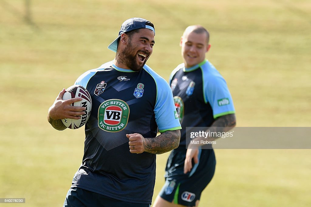 Andrew Fifita laughs during a New South Wales Blues State of Origin training session on June 15, 2016 in Coffs Harbour, Australia.