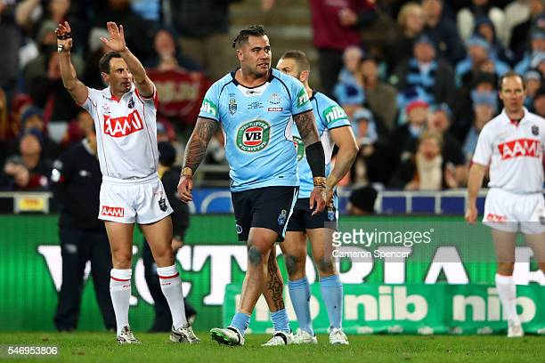 Andrew Fifita of the Blues is sent to the sin bin during game three of the State Of Origin series between the New South Wales Blues and the...