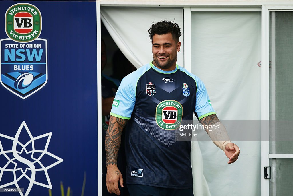 Andrew Fifita of the Blues prepares during a New South Wales State of Origin training session on May 26, 2016 in Coffs Harbour, Australia.