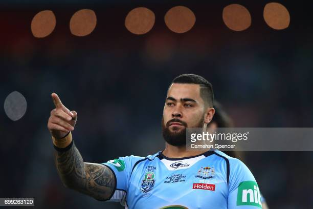 Andrew Fifita of the Blues reacts before game two of the State Of Origin series between the New South Wales Blues and the Queensland Maroons at ANZ...