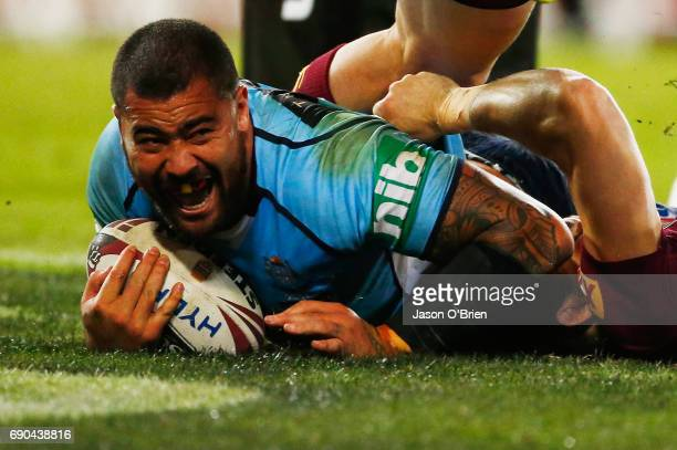 Andrew Fifita of the blues scores a try during game one of the State Of Origin series between the Queensland Maroons and the New South Wales Blues at...