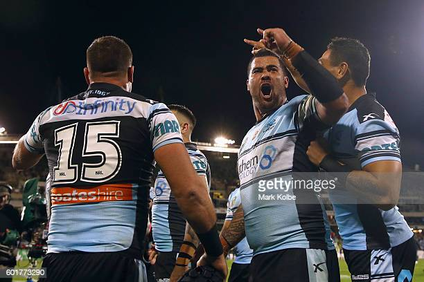 Andrew Fifita of the Sharks celebrates victory during the NRL Qualifying Final match between the Canberra Raiders and the Cronulla Sharks at GIO...