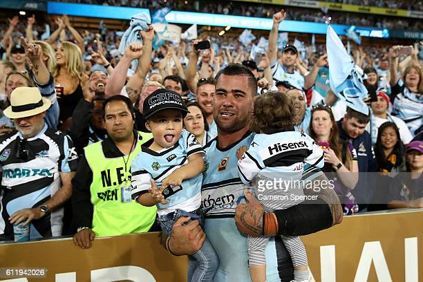 Andrew Fifita of the Sharks celebrates winning the 2016 NRL Grand Final match between the Cronulla Sharks and the Melbourne Storm at ANZ Stadium on...