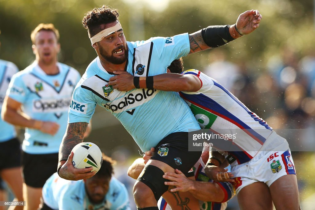 Andrew Fifita of the Sharks is tackled during the round five NRL match between the Cronulla Sharks and the Newcastle Knights at Southern Cross Group Stadium on April 1, 2017 in Sydney, Australia.