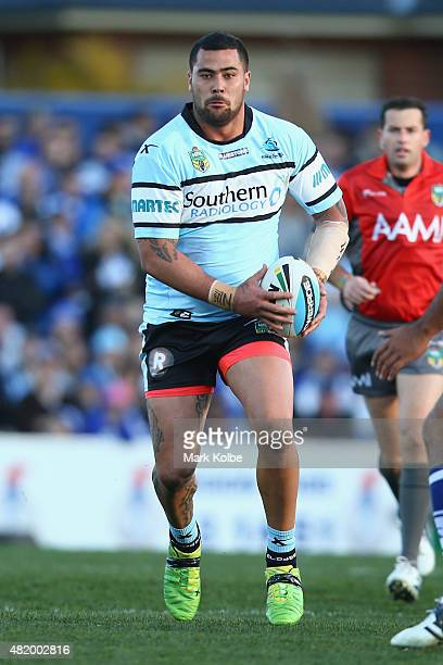 Andrew Fifita of the Sharks runs the ball during the round 20 NRL match between the Canterbury Bulldogs and the Cronulla Sharks at Belmore Sports...