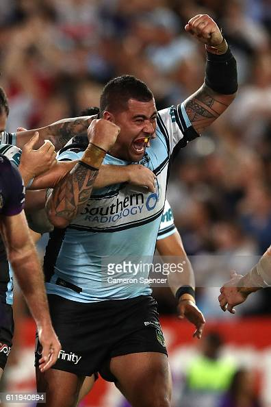 Andrew Fifita of the Sharks scores a try during the 2016 NRL Grand Final match between the Cronulla Sharks and the Melbourne Storm at ANZ Stadium on...