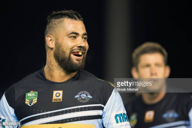 Andrew Fifita of the Sharks smiles during the warm up for the round eight NRL match between the Cronulla Sharks and the Gold Coast Titans at Southern...