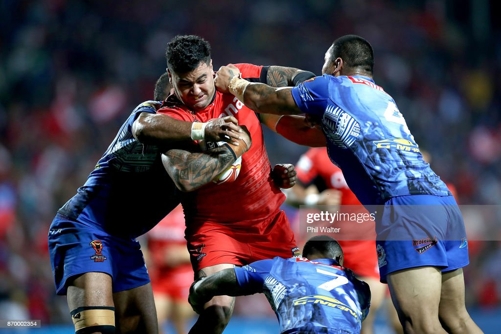 Andrew Fifita of Tonga is tackled during the 2017 Rugby League World Cup match between Samoa and Tonga at Waikato Stadium on November 4, 2017 in Hamilton, New Zealand.