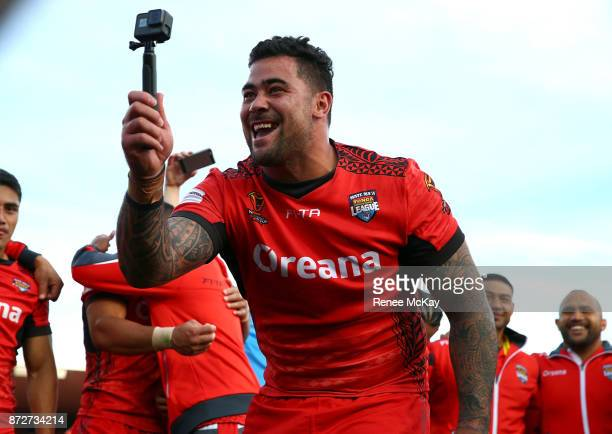 Andrew Fifita of Tonga takes a selfie during the 2017 Rugby League World Cup match between the New Zealand Kiwis and Tonga at Waikato Stadium on...