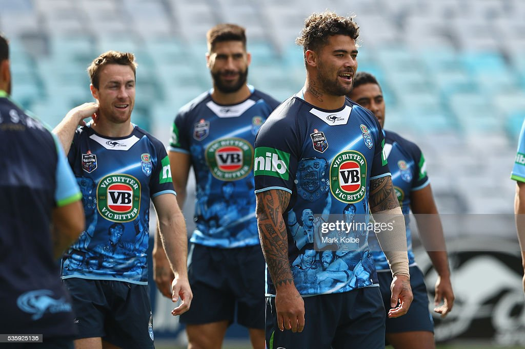 <a gi-track='captionPersonalityLinkClicked' href=/galleries/search?phrase=Andrew+Fifita&family=editorial&specificpeople=6850743 ng-click='$event.stopPropagation()'>Andrew Fifita</a> watches on during the New South Wales State of Origin captain's run at ANZ Stadium on May 31, 2016 in Sydney, Australia.