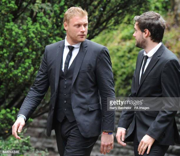 Andrew Flintoff and Jack Whitehall arrive for the funeral of Tom Maynard at Llandaff Cathedral Cardiff