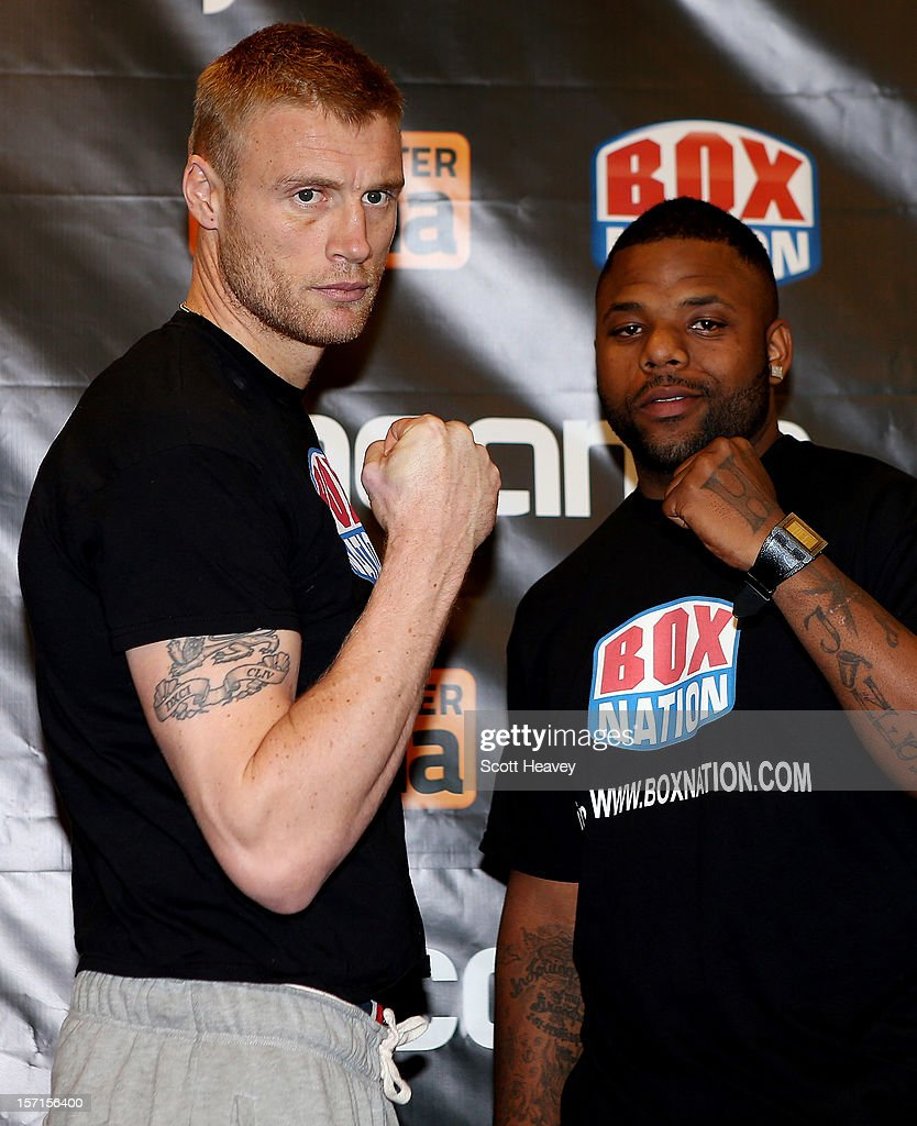 <a gi-track='captionPersonalityLinkClicked' href=/galleries/search?phrase=Andrew+Flintoff&family=editorial&specificpeople=171169 ng-click='$event.stopPropagation()'>Andrew Flintoff</a> and Richard Dawson during the weigh in for their Heavyweight bout at The Hilton Hotel on November 29, 2012 in Manchester, England.