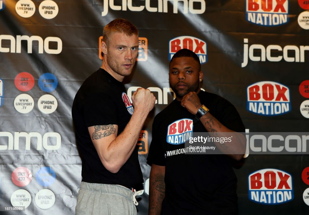 Andrew Flintoff and Richard Dawson the weigh in for their Heavyweight bout at The Hilton Hotel on November 29, 2012 in Manchester, England.