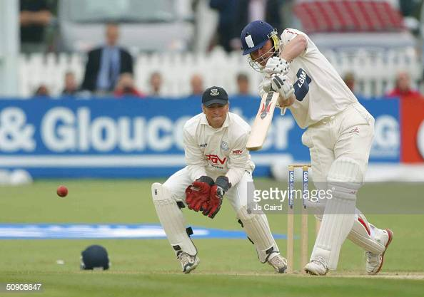 Andrew Flintoff bats during the Cheltenham Gloucester Trophy one day match between Sussex and Lancashire on May 29 2004 in Hove England