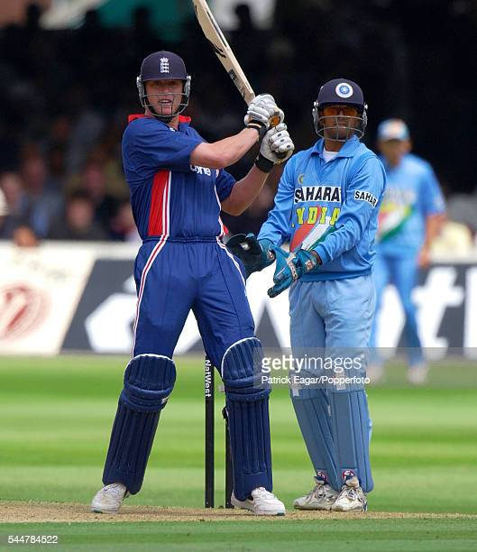 Andrew Flintoff batting for England during the 2nd NatWest One Day International between England and India at Lord's Cricket Ground London 29th June...