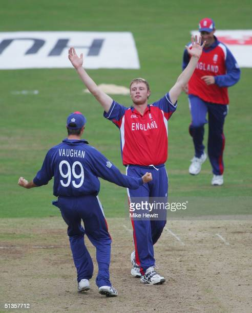 Andrew Flintoff celebrates taking the wicket of Brian Lara during the Final of the ICC Champions Trophy between England and West Indies on September...