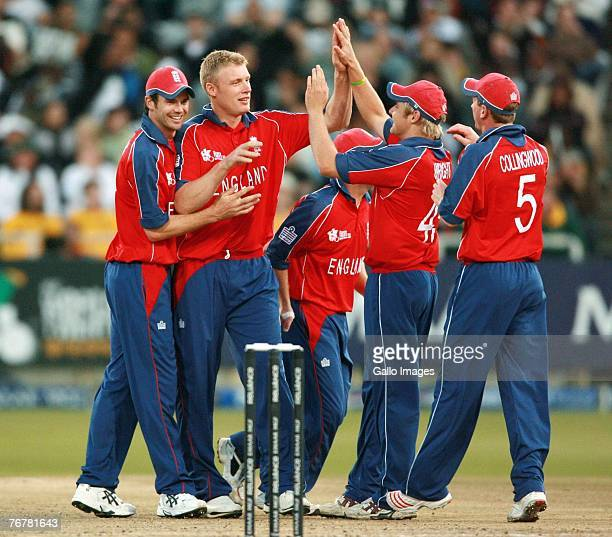 Andrew Flintoff celebrates the wicket of AB de Villiers during the Twenty20 Cup Super Eights match between England and South Africa at Newlands...