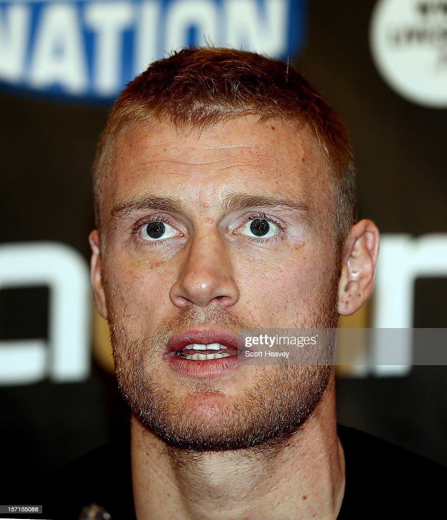 <a gi-track='captionPersonalityLinkClicked' href=/galleries/search?phrase=Andrew+Flintoff&family=editorial&specificpeople=171169 ng-click='$event.stopPropagation()'>Andrew Flintoff</a> during a press conference for his Heavyweight bout with Richard Dawson at The Hilton Hotel on November 29, 2012 in Manchester, England.