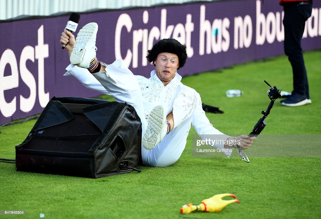 Andrew Flintoff falls over a speaker as he performs as Elvis Presley during the NatWest T20 Blast Final between Birmingham Bears and Notts Outlaws at Edgbaston on September 2, 2017 in Birmingham, England.