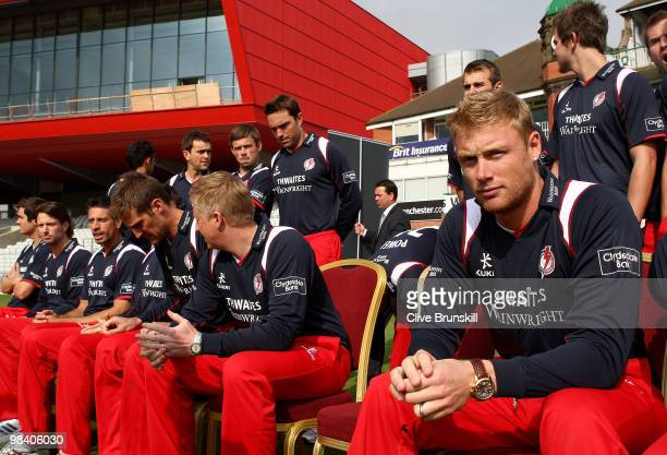 Andrew Flintoff gets ready to pose for a group photograph at the LCCC annual team photo call at Old Trafford county cricket ground on April 12 2010...