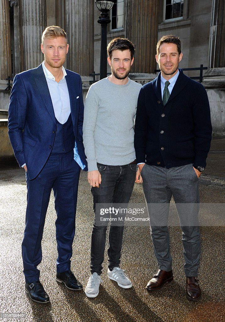 Andrew Flintoff Jack Whitehall and Jamie Redknapp arrive for the screening of 'A League Of Their Own US Road Trip' at British Museum on April 4 2016...