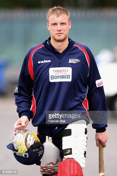 Andrew Flintoff of England and Lancashire walks from the indoor nets during nets at Old Trafford Cricket Ground on June 12 2008 in Manchester England