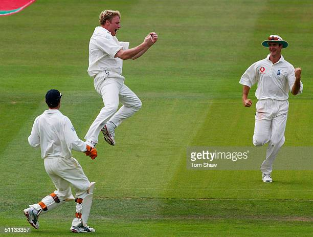 Andrew Flintoff of England celebrates taking the wicket of Brian Lara of the West Indies during day three of the England v West Indies 2nd npower...