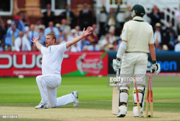 Andrew Flintoff of England celebrates the wicket of Peter Siddle of Australia during day five of the npower 2nd Ashes Test Match between England and...