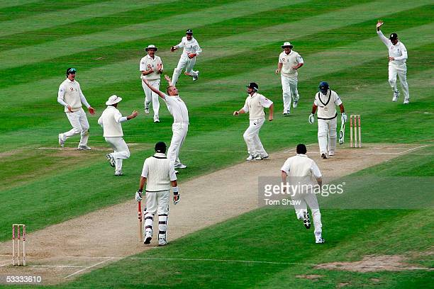 Andrew Flintoff of England celebrates the wicket of Ricky Ponting of Australia during day three of the Second npower Ashes Test match between England...