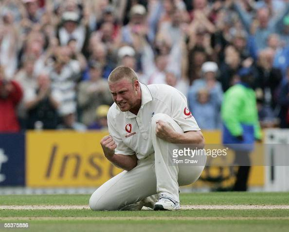 Andrew Flintoff of England celebrates the wicket of Shane Warne of Australia during day four of the Fifth npower Ashes Test match between England and...