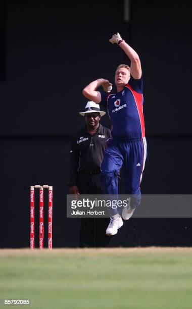 Andrew Flintoff of England comes into bowl during The 5th One Day International between The West Indies and England played at The Beausjour Stadium...