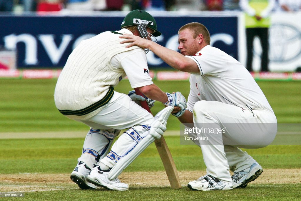 <a gi-track='captionPersonalityLinkClicked' href=/galleries/search?phrase=Andrew+Flintoff&family=editorial&specificpeople=171169 ng-click='$event.stopPropagation()'>Andrew Flintoff</a> (right) of England consoles <a gi-track='captionPersonalityLinkClicked' href=/galleries/search?phrase=Brett+Lee&family=editorial&specificpeople=169885 ng-click='$event.stopPropagation()'>Brett Lee</a> (left) of Australia after England won the 2nd Ashes Test Match by two runs at the Edgbaston cricket ground on August 7th 2005 in Birmingham, England (Photo by Tom Jenkins/Getty Images). An image from the book 'In The Moment' published June 2012