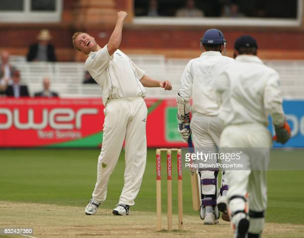 Andrew Flintoff of England gets the wicket of Sri Lanka's Chamara Kapugedera caught by England wicketkeeper Geraint Jones for 10 runs during the 1st...