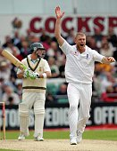 Andrew Flintoff of England has an appeal turned down during day two of the Second Test match between England and South Africa at Headingley Carnegie...