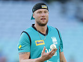 Andrew Flintoff of the Heat warms up before the Big Bash League match between the Sydney Thunder and Brisbane Heat at ANZ Stadium on December 21 2014...