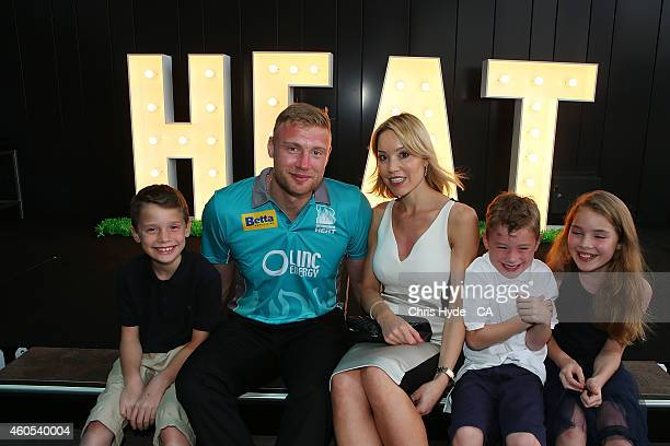 Andrew Flintoff poses wife Rachael and children Holly Corey and Rocky during the Brisbane Heat Big Bash League season launch at Southbank on December...