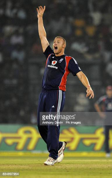 Andrew Flintoff unsuccessfully appeals for the wicket of Virender Sehwag during the Fifth One Day International at the Barabati Stadium in...